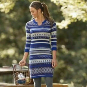 Athleta Fara Fair Isle Nordic Sweater Dress M Blue